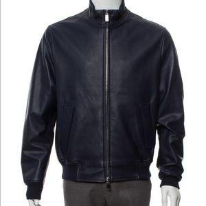 Canali men's leather zip bomber jacket